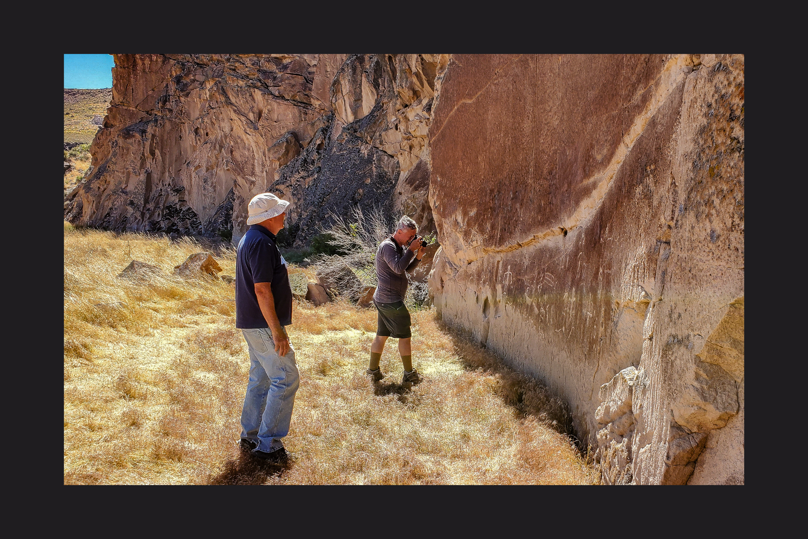 Recording the rock writing in the test area